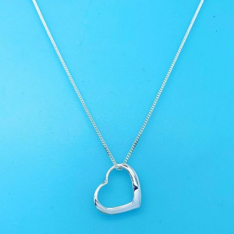 Genuine 925 Sterling Silver 16 inch Chain with Sliding Open Heart ( Tif Style )